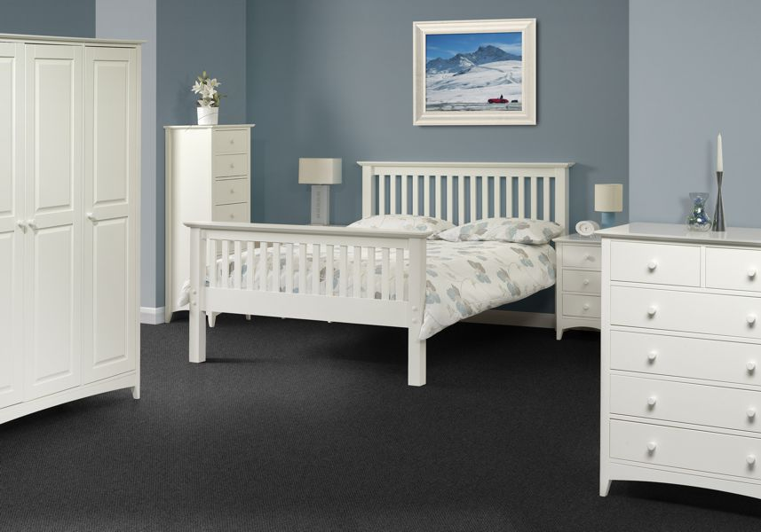 Cameron White 1 Drawer Bedside Chest Table Sale Now