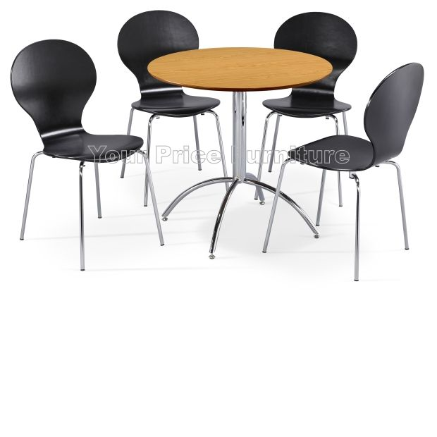 Kimberley Dining Set Natural & 4 Black Chairs Sale Now