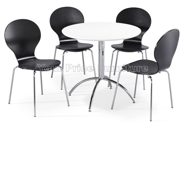 Kimberley dining set white 4 black chairs sale now on for Dining table set deals