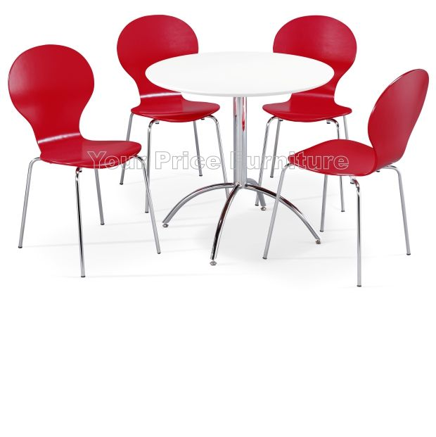 Kimberley Dining Set White & 4 Red Chairs Sale Now Your