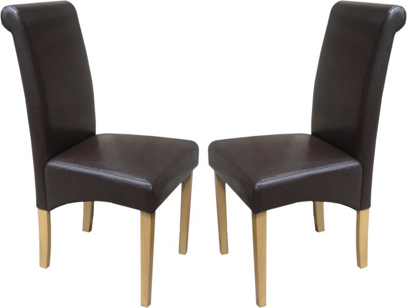 Roma Brown Dining Chairs with Oak Legs 1 2 price Sale Now
