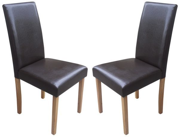 Torino Brown Faux Leather Dining Chairs 1 2 price Sale Now