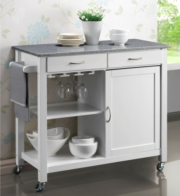 Hardwood White Painted Kitchen Trolleys. Half Price Sale ...