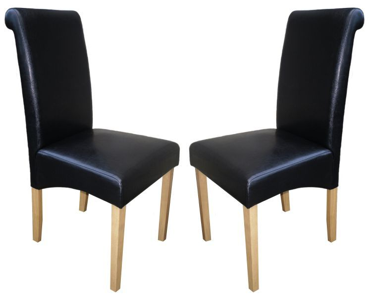 Roma Black Faux Leather Dining Chairs With Oak Legs 1 2