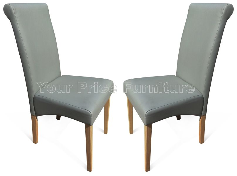 Roma Matt Grey Faux Leather Dining Chairs With Oak Legs 1 2 Now On Your Furniture