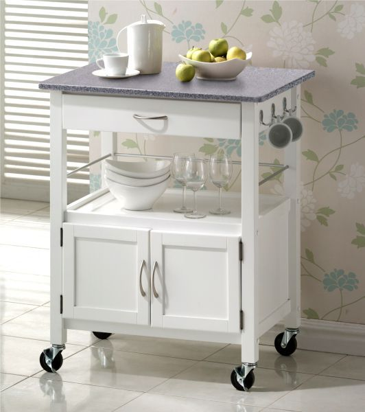 Hardwood White Painted With Grainte Top Kitchen Trolleys Half Price Sale Now On At Your Price